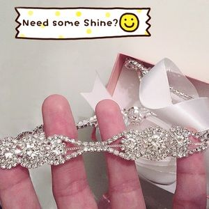 Accessories - Skinny Delicate Rhinestone White Sash, 2 Styles